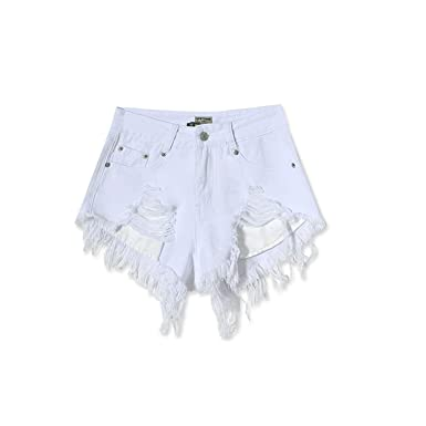 6769775ce Cute Demi Women Summer High Waist Shorts White Ripped Mini Denim Jeans  Shorts Plus Size Bottoms at Amazon Women's Clothing store: