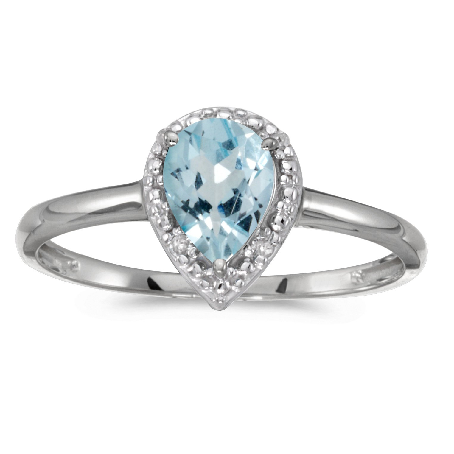 0.51 Carat ctw 14k Gold Pear Aqua Aquamarine Solitaire & Diamond Halo Engagement Promise Fashion Ring - White-gold, Size 5.5