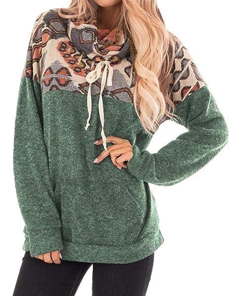 Manga Larga Cuello Desbocado Barroco Étnico Tribal Geométrico Bolsillos Pullover Sweatshirt Sudadera T Shirt Camiseta Playera Top Verde