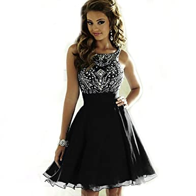 CCBubble Short Prom Dresses 2018 Lace Up Beaded Homcoming Graduation DressCXY200-Black2