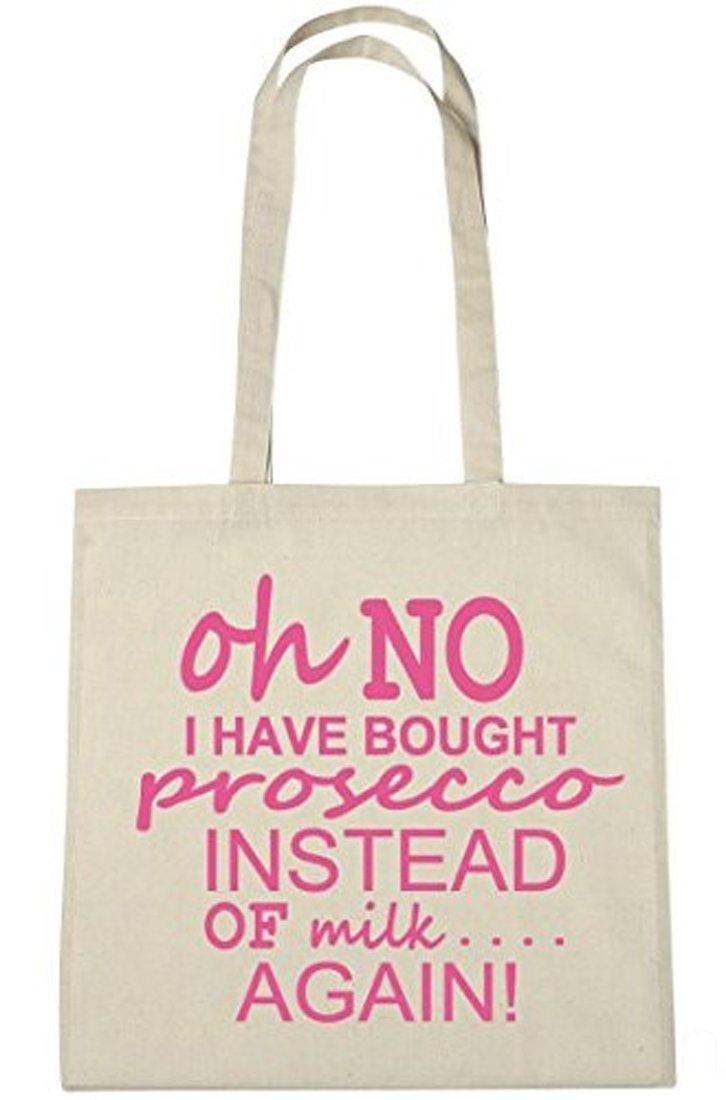 Sac de course en coton motif /« Oh No I Have Bought Prosecco Instead Of Milk Again /»
