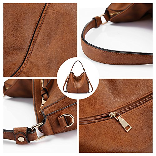 Large Light Faux Women bag Hobo Leather Purse Ladies Bucket Designer Handbags for Brown 6TwFEE