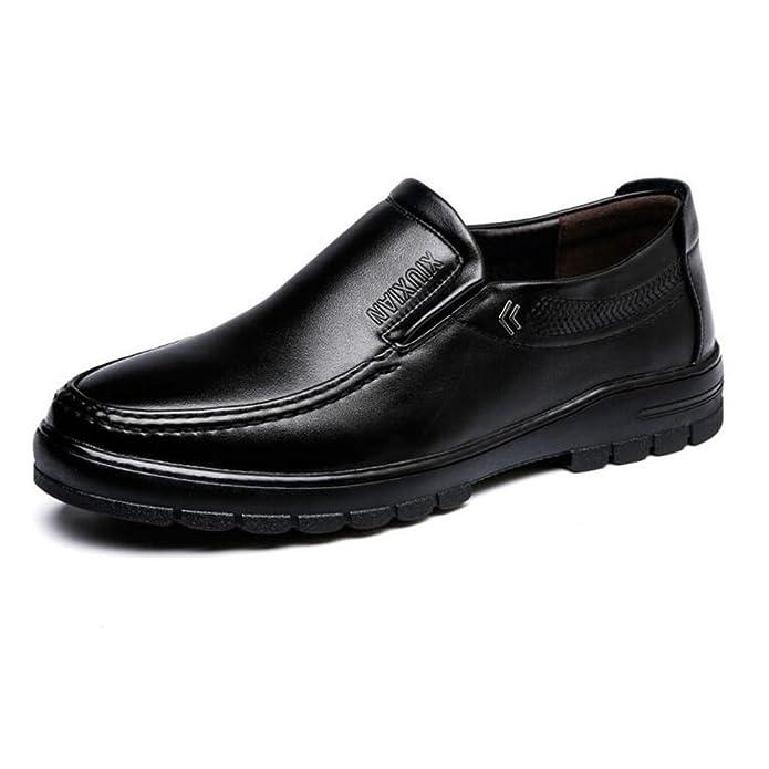 Zapatos de Cuero de los Hombres Zapatos Planos de la Suela de los Holgazanes Hermosos Cómodos de la PU para los Caballeros para los Hombres: Amazon.es: ...
