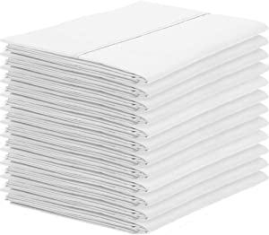 Bare Home 12 Pillowcases - Premium 1800 Ultra-Soft Collection - Bulk Pack - Double Brushed - Hypoallergenic - Wrinkle Resistant - Easy Care (Standard - 12 Pack, White)