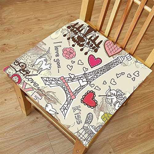 Nalahome Set of 2 Waterproof Cozy Seat Protector Cushion Paris Decor Doodles Illustration of Eiffel Tower Hearts Chandelier Flower Love Themed Vintage Artwork Beige Pink Printing Size 16x16inch