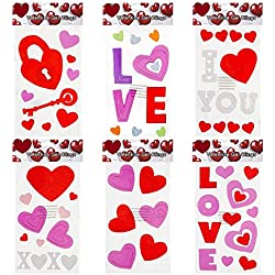 6 Valentine Window Gel Clings; Heart, Key to My Heart, Love, I Love You & More...