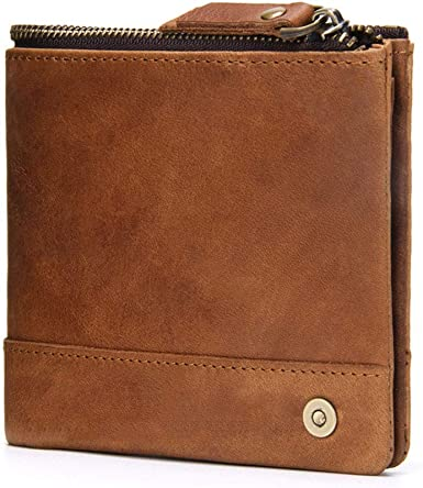 Men  Vintage  Blocking Wallet Crazy Horse Leather Blocking Wallet Small useful