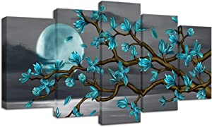 Visual Art Decor Beautiful Flowers Wall Art Abstract Teal Magnolia Blossom Over Sea Canvas Prints Gallery Wrap Floral Decoration Modern Living Room Bedroom Home Artwork Gift (W-50xH-24)