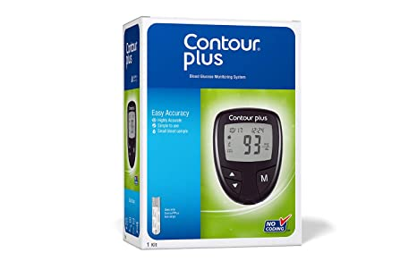 Free Blood Glucose Meter >> Contourplus Blood Glucose Monitoring System Glucometer With 25 Free Strips Multicolour