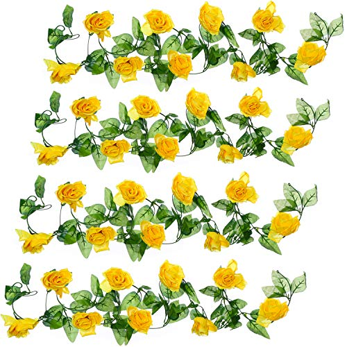 Well Love Artificial Flower Rose Vine Garland 8FT/Piece for Home Kitchen Wedding Party Garden Festival Office Outdoor Hanging Arch DIY Craft Art Decor Canary Yellow Gift Set ()
