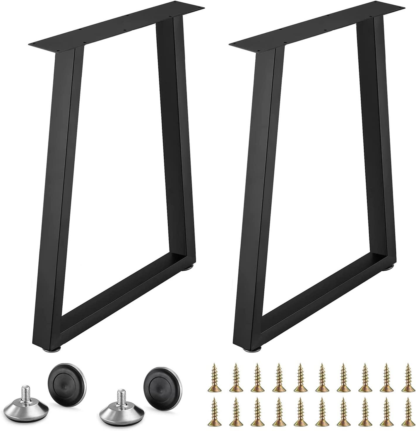 2 Pack Industrial Metal Table Legs Iron Desk Legs Vintage Stainless Steel Furniture Decorations Legs for Coffee, Dinner Table (28 Inch X 18 Inch)