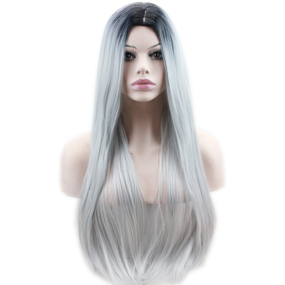 Dreambeauty High Temperture Synthetic Cheap Middle Parting Long Full Wig for White Women Silky Straight Black Root Ombre Grey Wigs 22inch Qingdao Feiyang Hair Co. Ltd