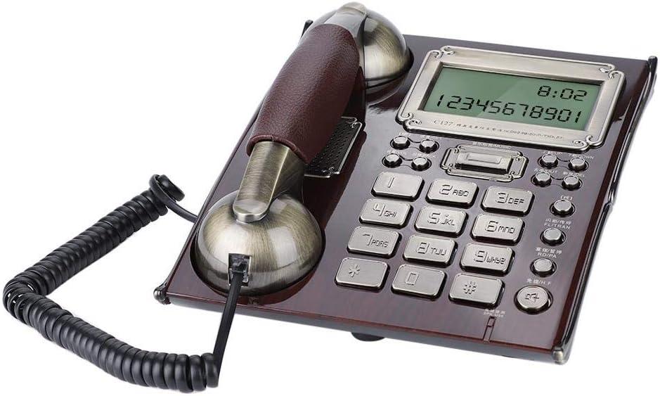 European Antique Landline Phone, FSK/DTMF Dual Compatibility, Multifunctional Desk Phone with Caller ID, Custom Ringtones, Clock, Home Retro Telephone(Rojo)