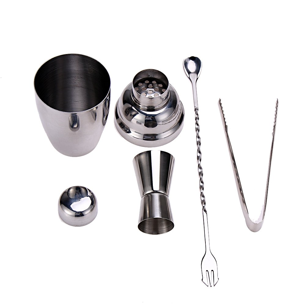 VMH Store Home Cocktail Bar Set- Stainless Steel 4 Piece with Shaker, Jigger, Mixing spoon and Muddler- Attractive Gift Box.