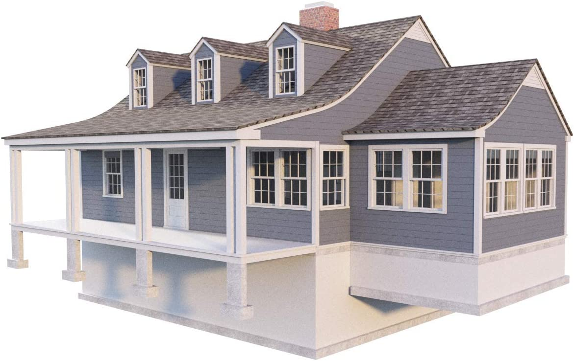2 Story Farmhouse Plans - DIY 3 Bedroom Country House Farm Home 1620 sq/ft NEW