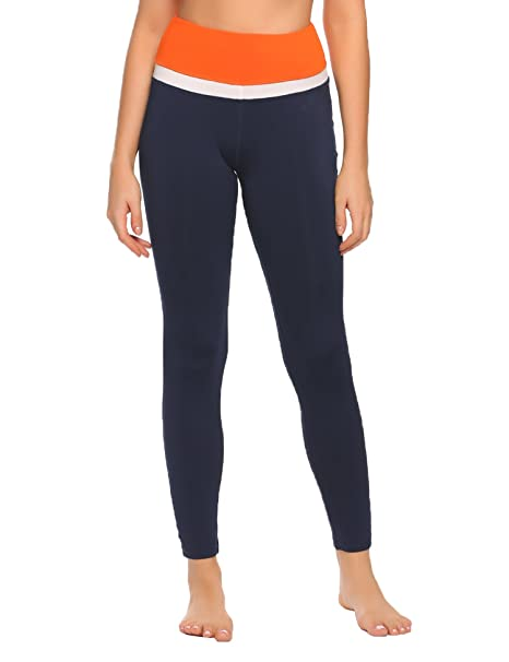 8405c916a2a804 Ekouaer Women's Stretch Striped Leggings High Waist Elastic Wasitband Yoga  Running Leggings Dark Blue