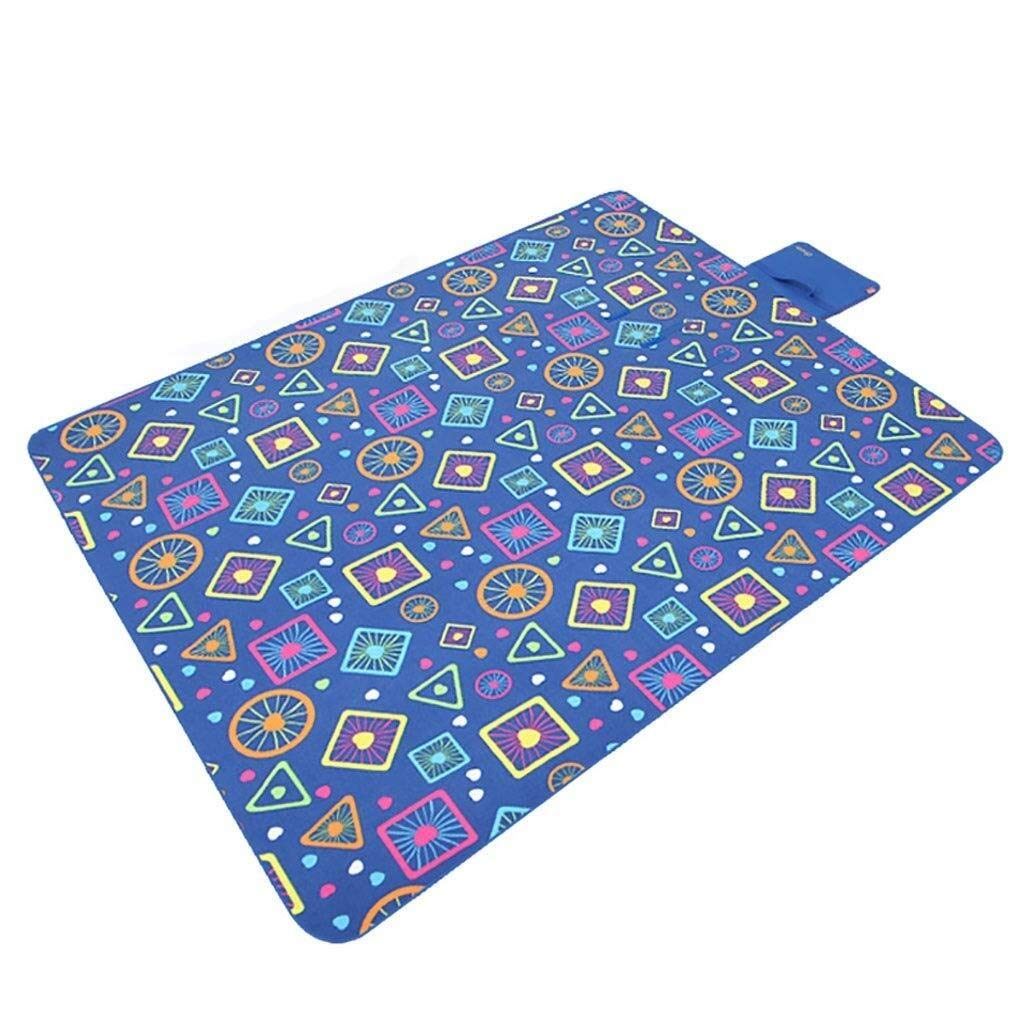 ZKKWLL Picnic Blanket Folding Picnic Blanket Fleece Waterproof Backing Travel Picnic Rug Outdoor, Beach, Camping with Handles - Fun Geometry Beach mat (Color : A) by ZKKWLL