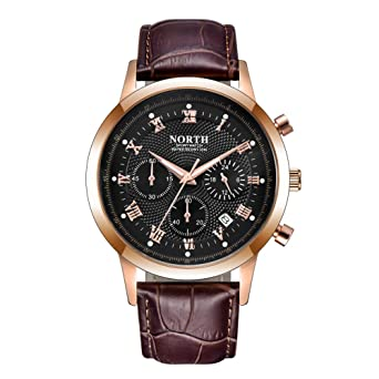 NORTH Men Luxury Watches, Mens Chronograph Sport Wrist Watch, Water Resistant Date Leather Watch