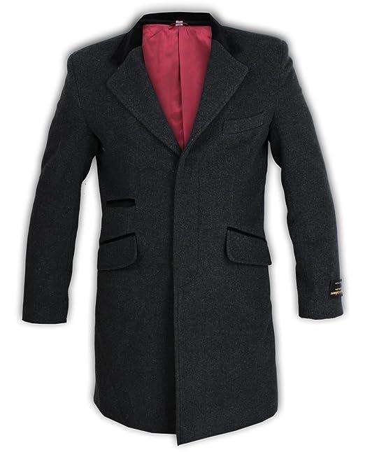 Chaqueta para hombre, en mezcla de lana y cachemira con ribetes y cuello de terciopelo