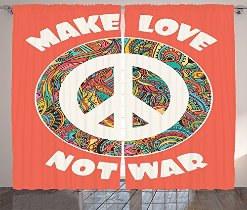 """Groovy Decorations Curtains Hippie Style Ornamental Creative Youth History Politics Make Love Not War Text Living Room Bedroom Decor 2 Panel Set,Size:2 x 54""""W By 63""""H"""