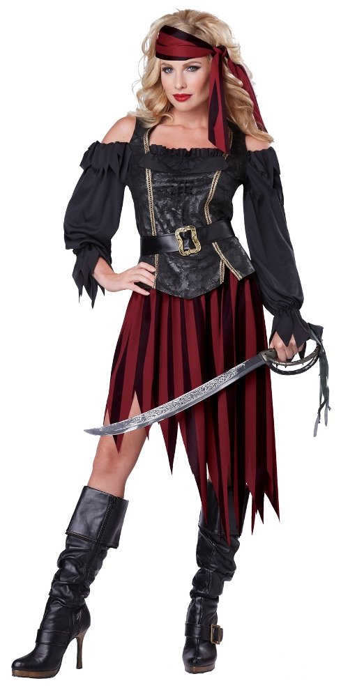 California Costumes Women's Queen Of The High Seas Sexy Pirate Swashbuckler Buccaneer, Black/Burgundy, X-Large