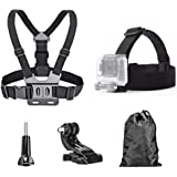 TEKCAM Action Camera Head Strap Chest Harness Belt Mount with Carrying Pouch Compatible with Gopro Hero 8 7 6/AKASO EK7000 Br