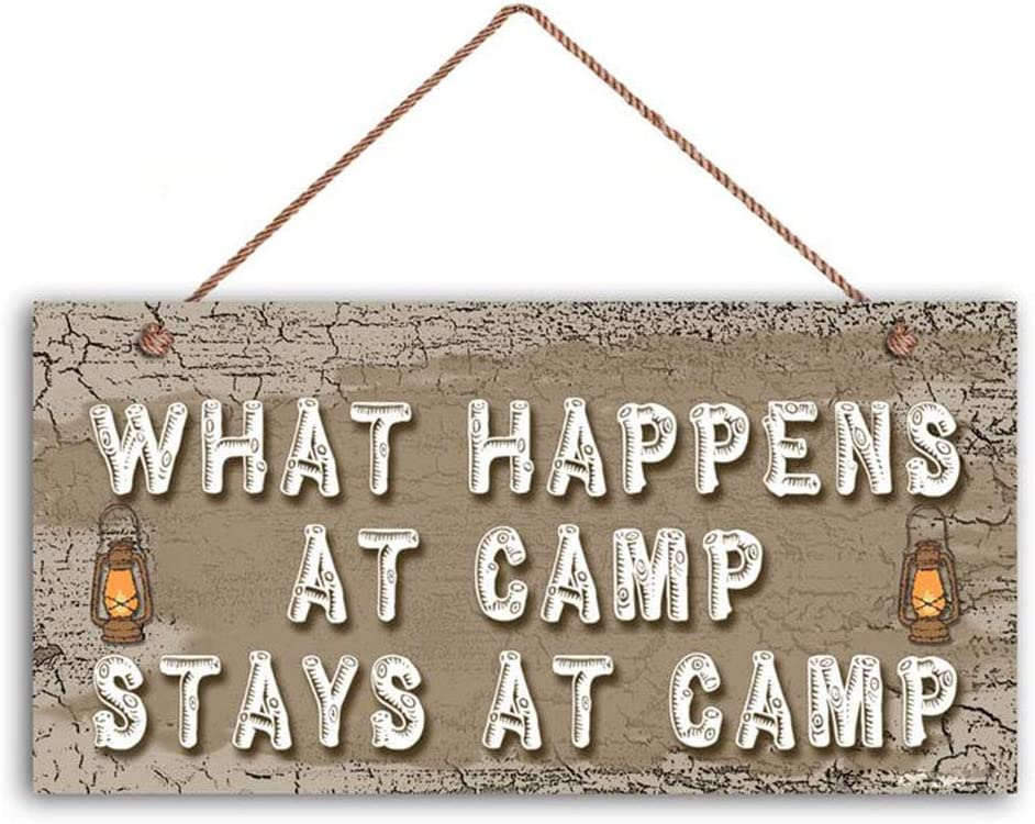 ROONASN What Happens at Camp Stays at Camp Sign, Rustic Decor, Earthy Tones, Lanterns, 6