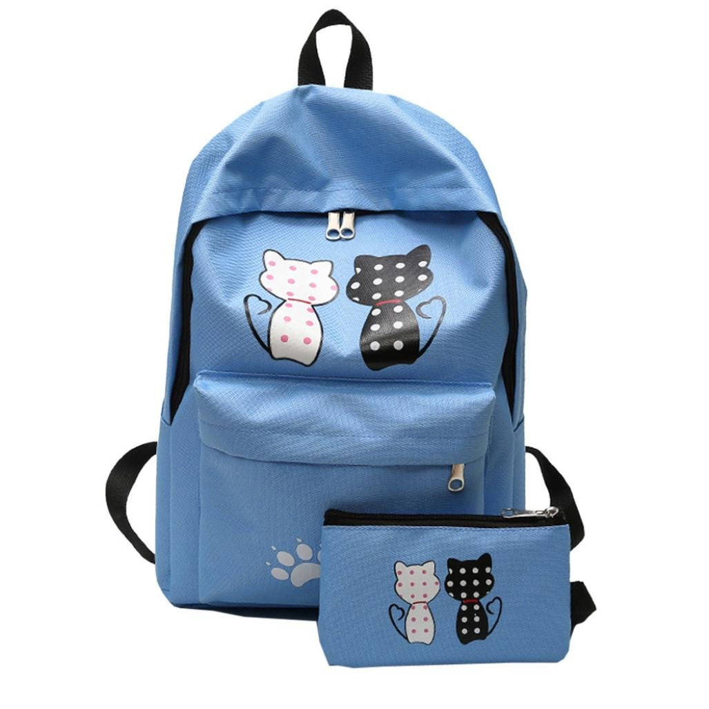 Aobiny Backpack Fashion Student Sequins Nylon Backpack With Shoulders (Bule)