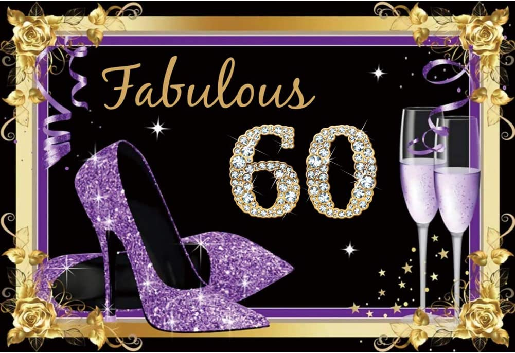 YEELE Purple 60th Birthday Backdrop for Woman 10x8ft Fabulous Sixty Years Old Diamond Style Photography Background Man Woman Birthday 60 Anniversary Photos Photobooth Prop Digital Wallpaper