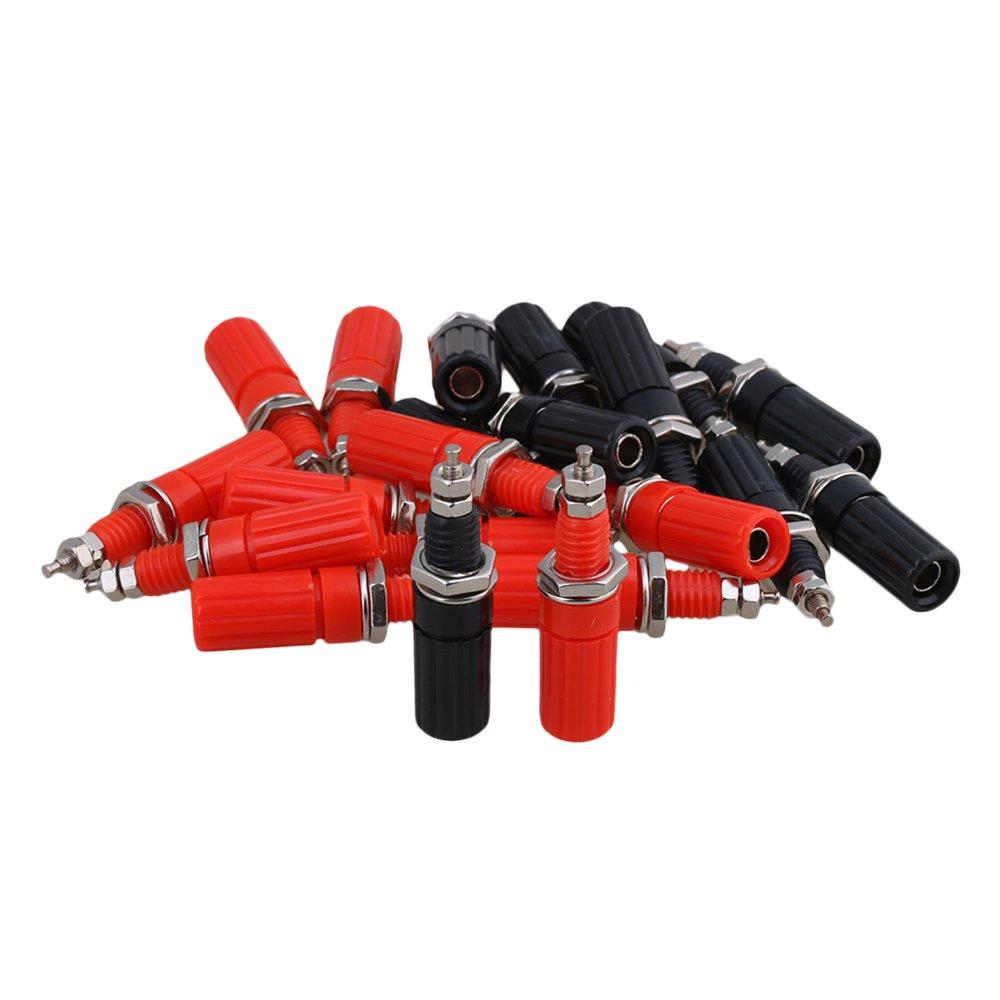 BQLZR Red and Black 4mm Amplifier Terminal Binding Post Banana Plug Jack Panel Mount Pack of 20 N09450