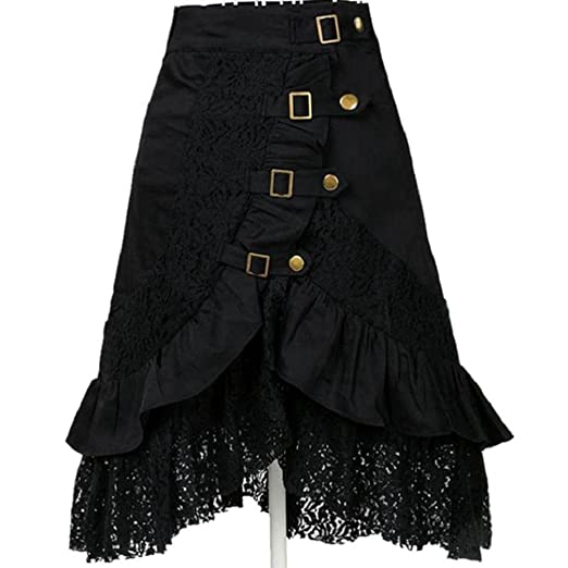 3c0a82d2619 FUNIC Clearance Women s Steampunk Clothing Party Clubwear Punk Gothic Retro  Black Lace Skirt (2XL (