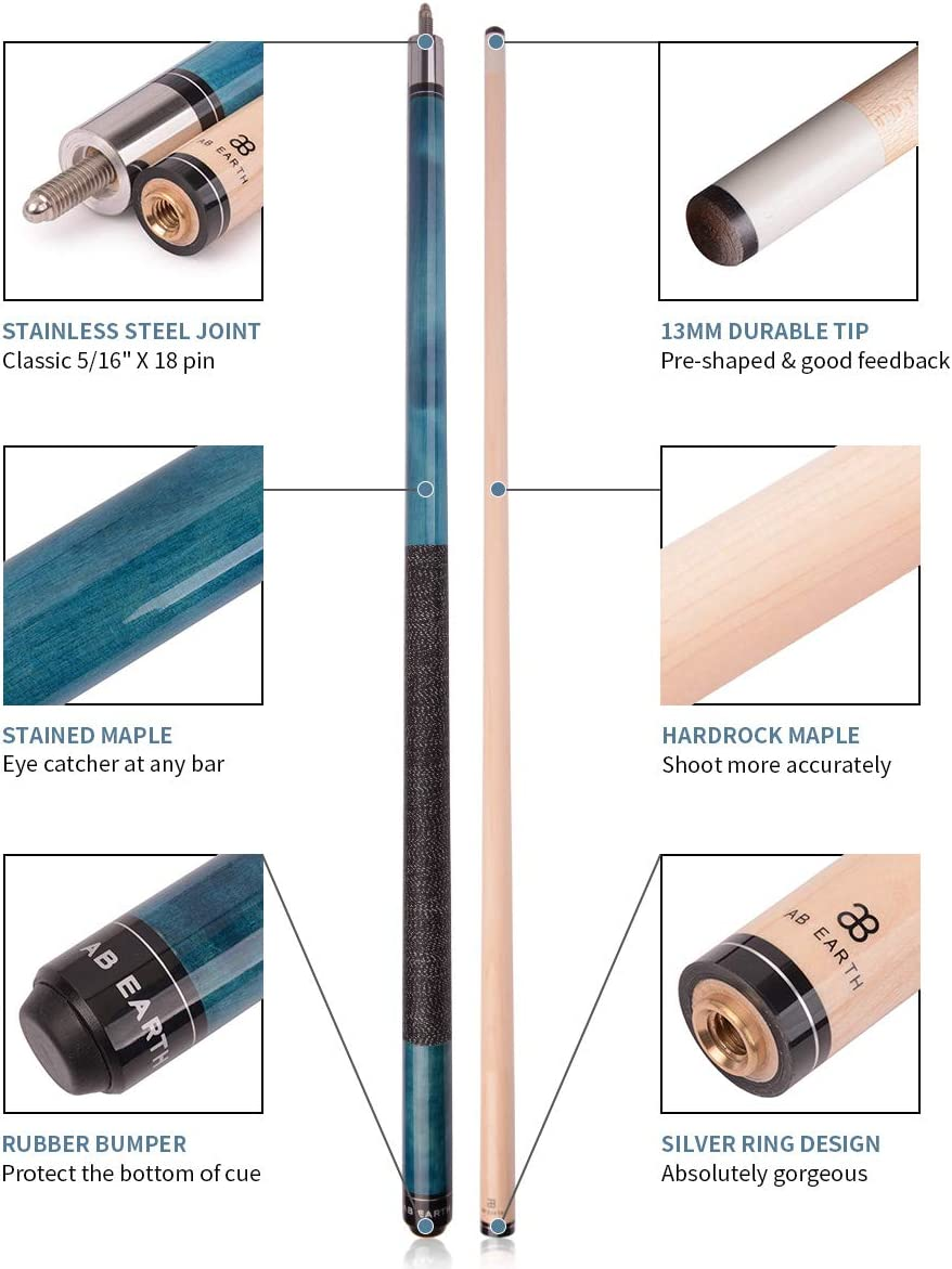 AB Earth 58 inch Classic Series 2-Piece Billiard Pool Cue Stick with Irish Linen Wrap