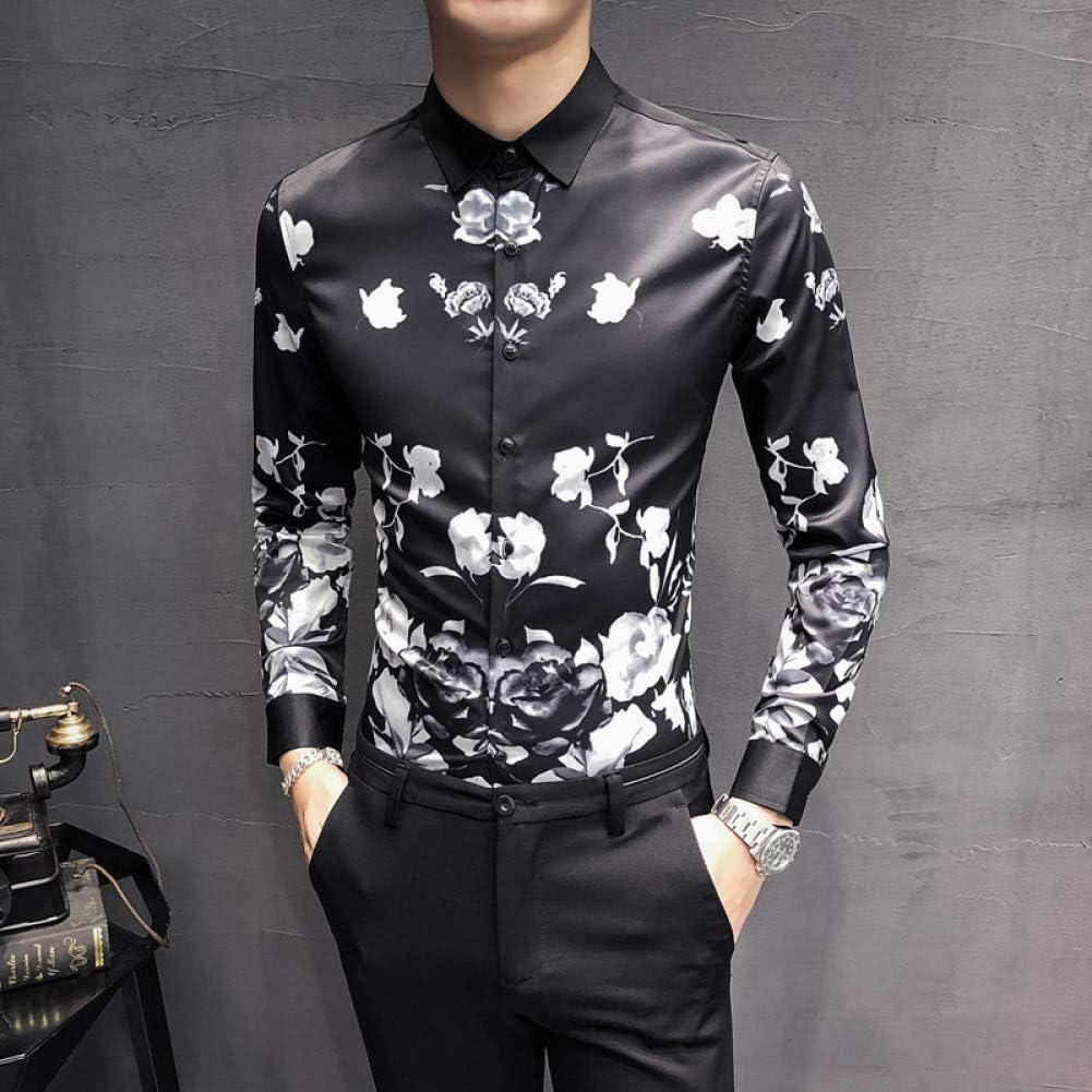 MKDLJY Camisas Camisa Slim Fit Fashion Men 2019 Camisa con Estampado de Rosas Casual para Hombre Camisas sociales Camisa de Fiesta de Club Nocturno de Manga Larga: Amazon.es: Deportes y aire libre