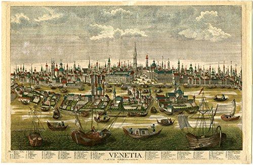Rare Antique Print-CANAL-SAN MARCO-CITY HALL-VENICE-ITALY-Probst-ca. 1760 -