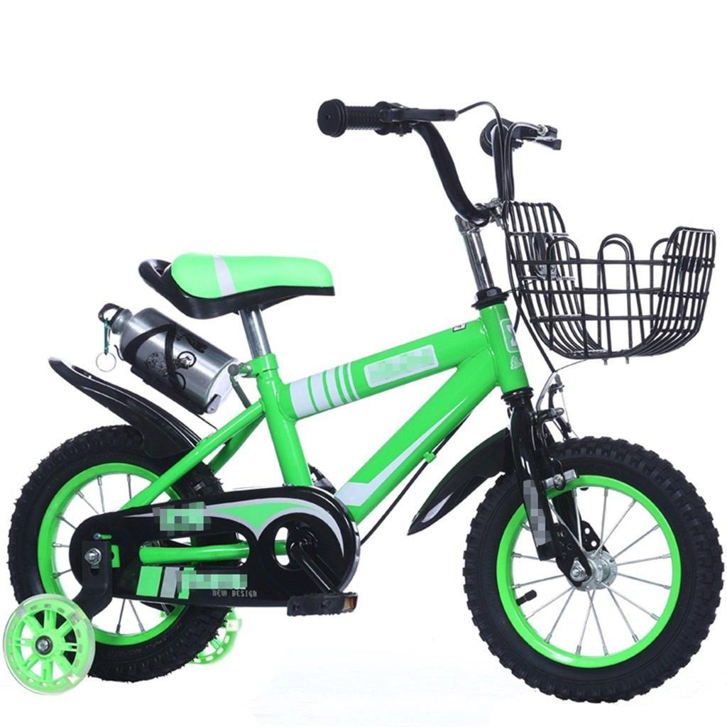 KANGR-子ども用自転車 子供の自転車マウンテンバイクに適した2-3-6-8男の子と女の子子供用おもちゃのハンドルバー/サドルの高さは、フラッシュトレーニングホイールで調節できます。ウォーターボトルとホルダー-12 / 14/16/18インチ ( 色 : 緑 , サイズ さいず : 12 inch ) B07BTMJX7R 12 inch|緑 緑 12 inch