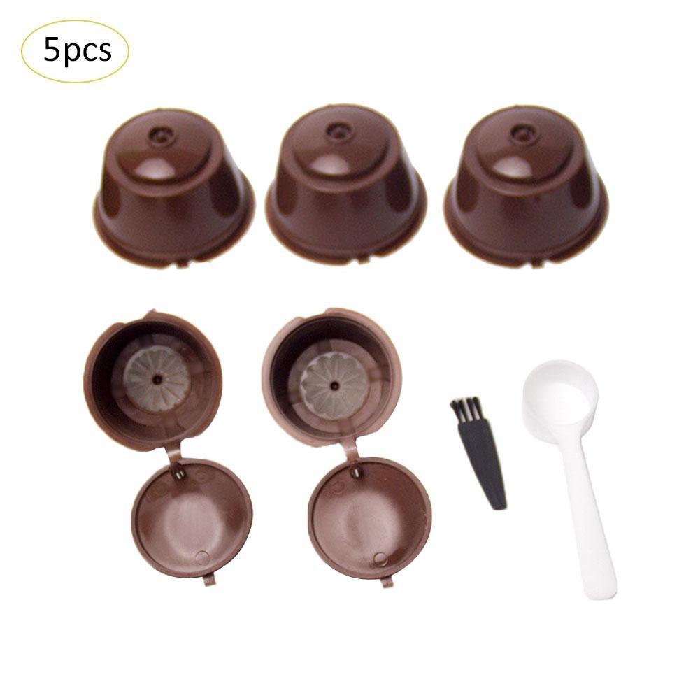 5 PCS Capsules De Caf/é Tasse Accessoires 7 en 1 Set Combinaison Caf/é Filtre Tasse avec Cuill/ère Brosse pour Dolce Gusto Accessoires Cuisine Restaurent