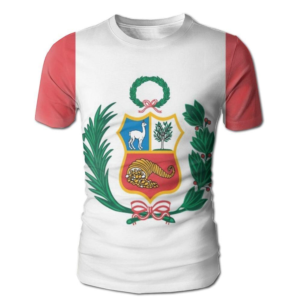 CUTEDWARF Hawaiian Short Sleeve Crewneck Tee 3D Printed Peru Flag T-Shirt