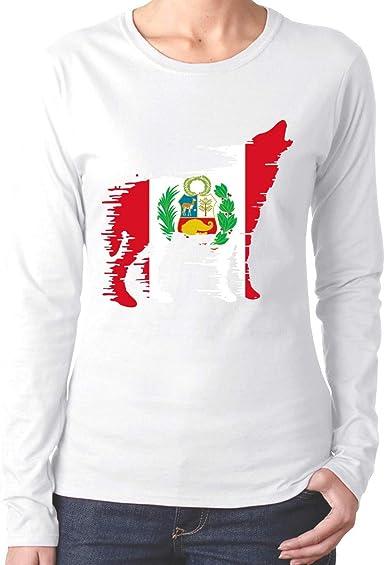 Camiseta de algodón con Camiseta de Manga Larga Wolf Comfortsoft de Bandera peruana para Mujer: Amazon.es: Ropa y accesorios