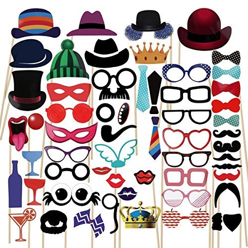 Photo Booth Props - 59pcs DIY Kit Photo Props Card with Stick for Wedding Party Graduation Birthdays New Year, Dress-up Selfie Props Accessories with Mustache, Hats, Glasses, Lips, Bowler, Masks