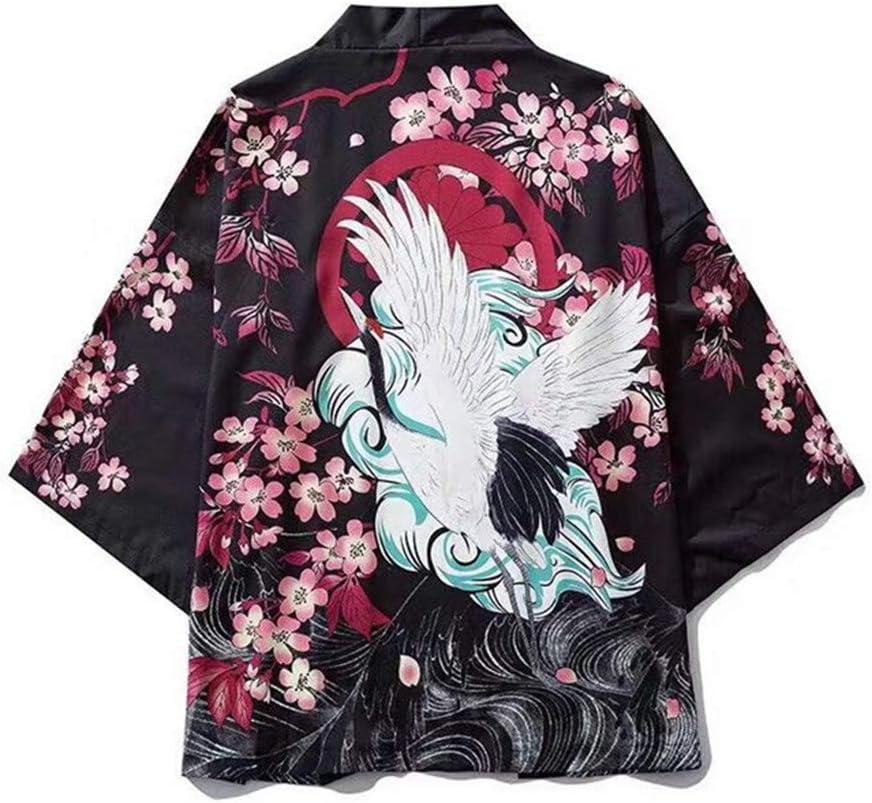 Beihxwe Mens Kimono Cardigan Style Flying Crane Seven Sleeves Loose Jacket Yukata Coat Baggy Tops Summer