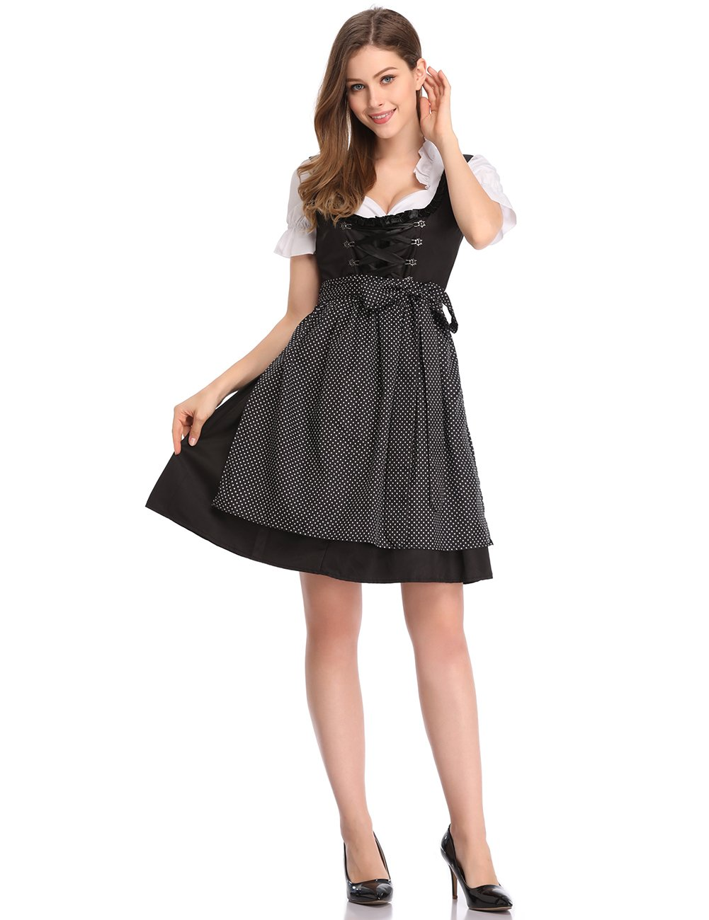 Clearlove Different Style Traditional Dirndl Dress Blouse Apron for Oktoberfest (XL, Black)