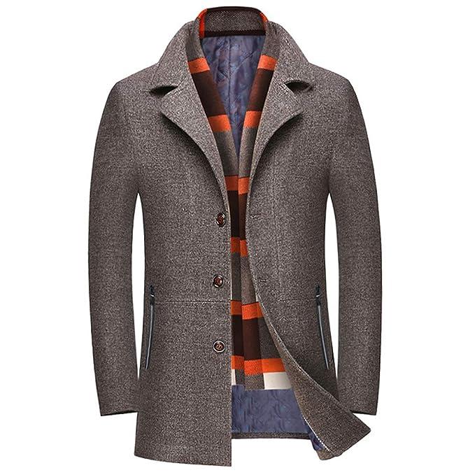Amazon.com: WULFUL - Chaqueta de lana para hombre, para ...