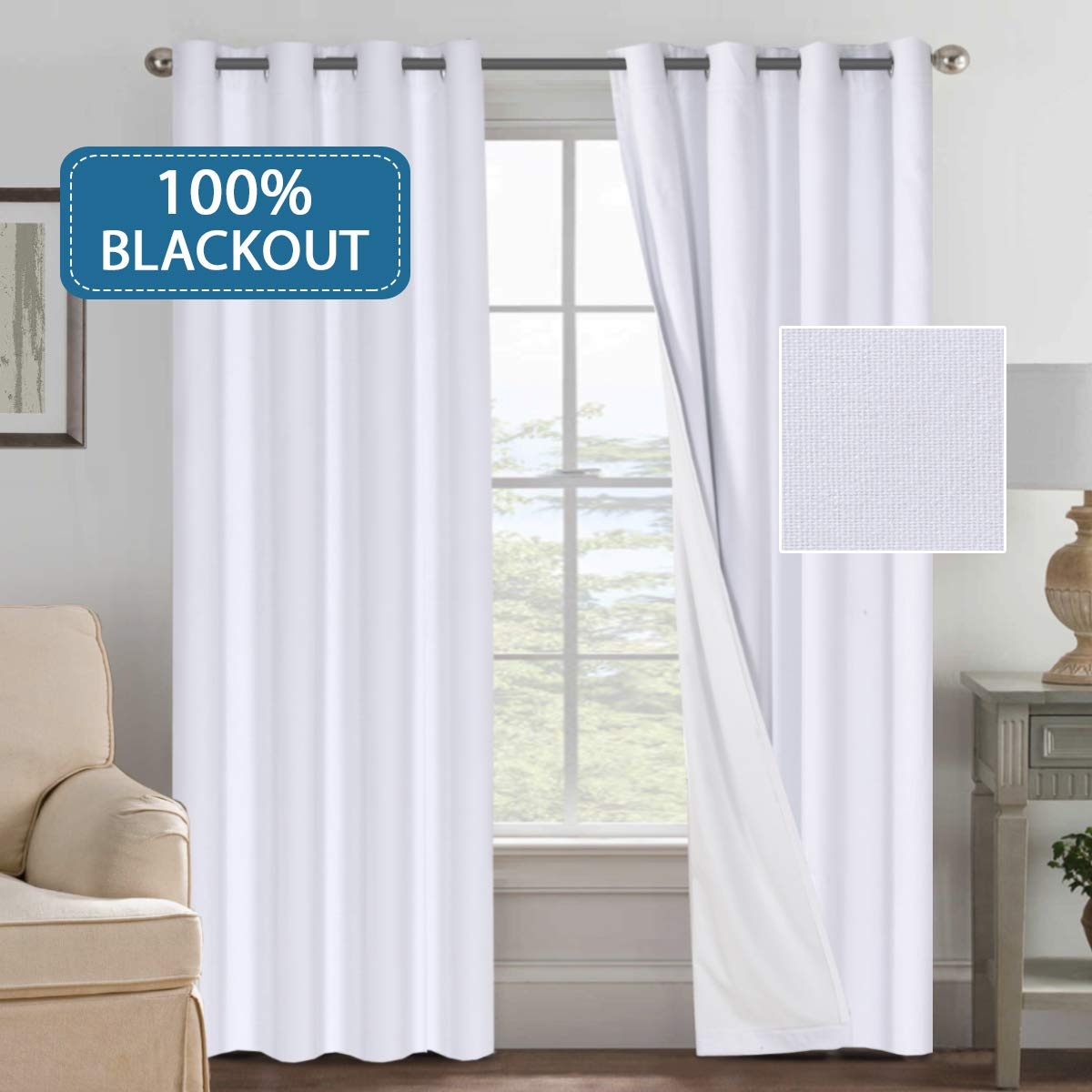 Primitive Linen Look 100% Blackout Curtains, Waterproof Burlap Fabric Curtains with White Thermal Insulated Liner, Grommet Top Curtains for Living Room /Bedroom (2 panels W52 x L96 inches, White)