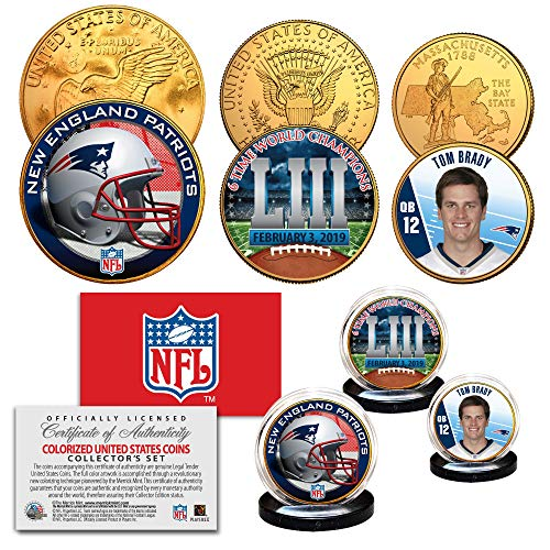SUPERBOWL LIII NFL CHAMPIONS New England Patriots 3-Coin 24K Gold Clad Set BRADY