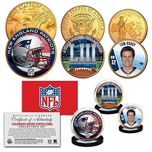 - SUPERBOWL LIII NFL CHAMPIONS New England Patriots 3-Coin 24K Gold Clad Set BRADY