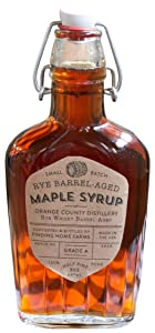 Finding Home Farms Grade A Small Batch Rye Barrel Aged Organic Maple Syrup in Decorative Glass Bottle, Half Pint (8oz)