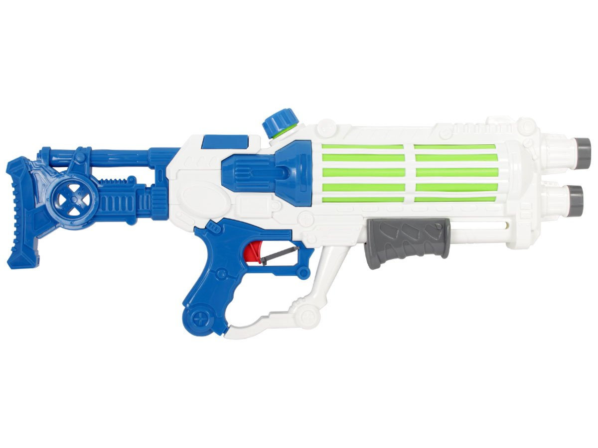 Alsino Wasserpistole Wasser-Gewehr Shooter fü r Kinder Erwachsene 57 cm 2 Farbig Pumpe Sommer Strand mit XXL Wassertank, Variante Wä hlen:9110 Blau Weiß