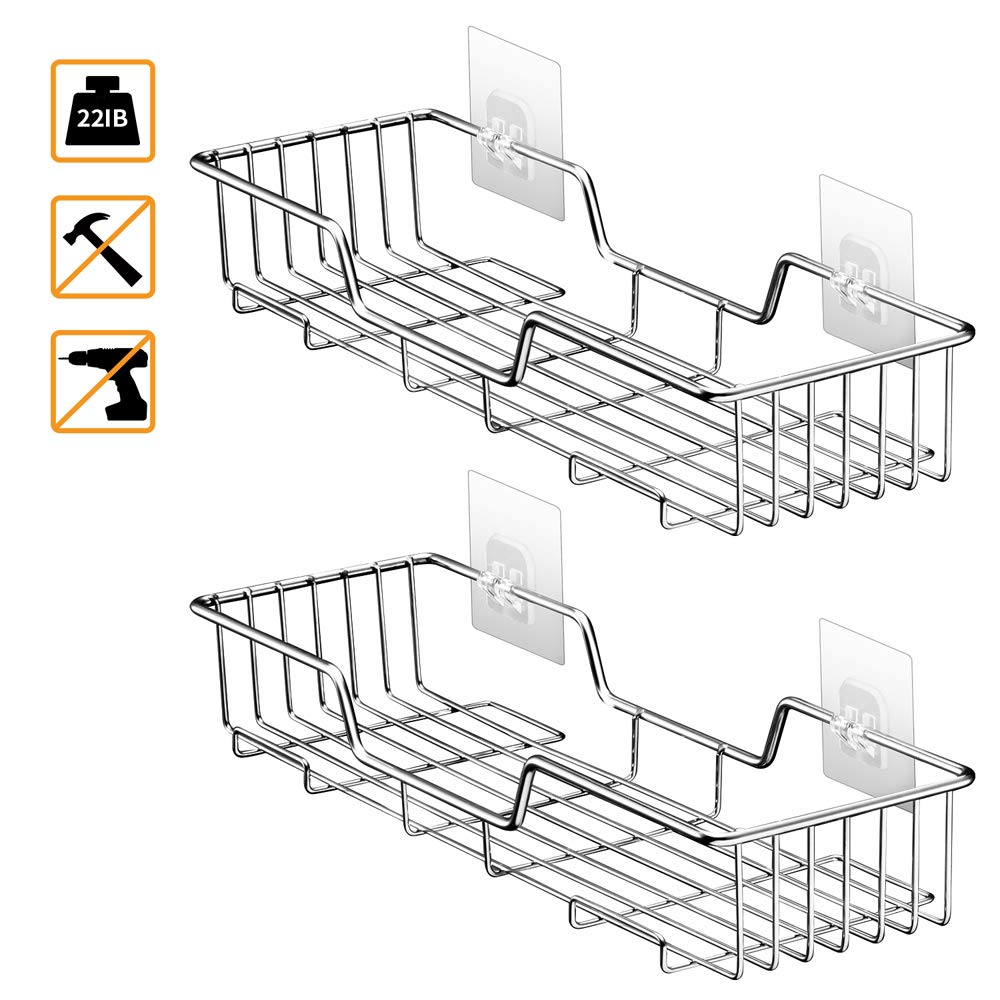 Shower Caddy Bathroom Shelf Storage Corner Basket Holder Shower Organizer Kitchen Spice Rack Versatile Shelves No Drilling Adhesive Wall Mounted Stainless Steel SUS304 with 2 Hanging Tower Hook – 2PCS