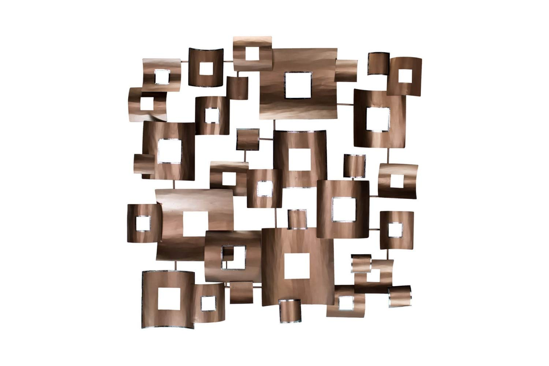 KunstLoft Extravagante Metall Wandskulptur 'Clockwork' 100x100x6cm  Design Wanddeko XXL handgefertigt  Luxus Metallbild Wandrelief  Abstrakt Formen Viereck Kupfer  Wandbild modern