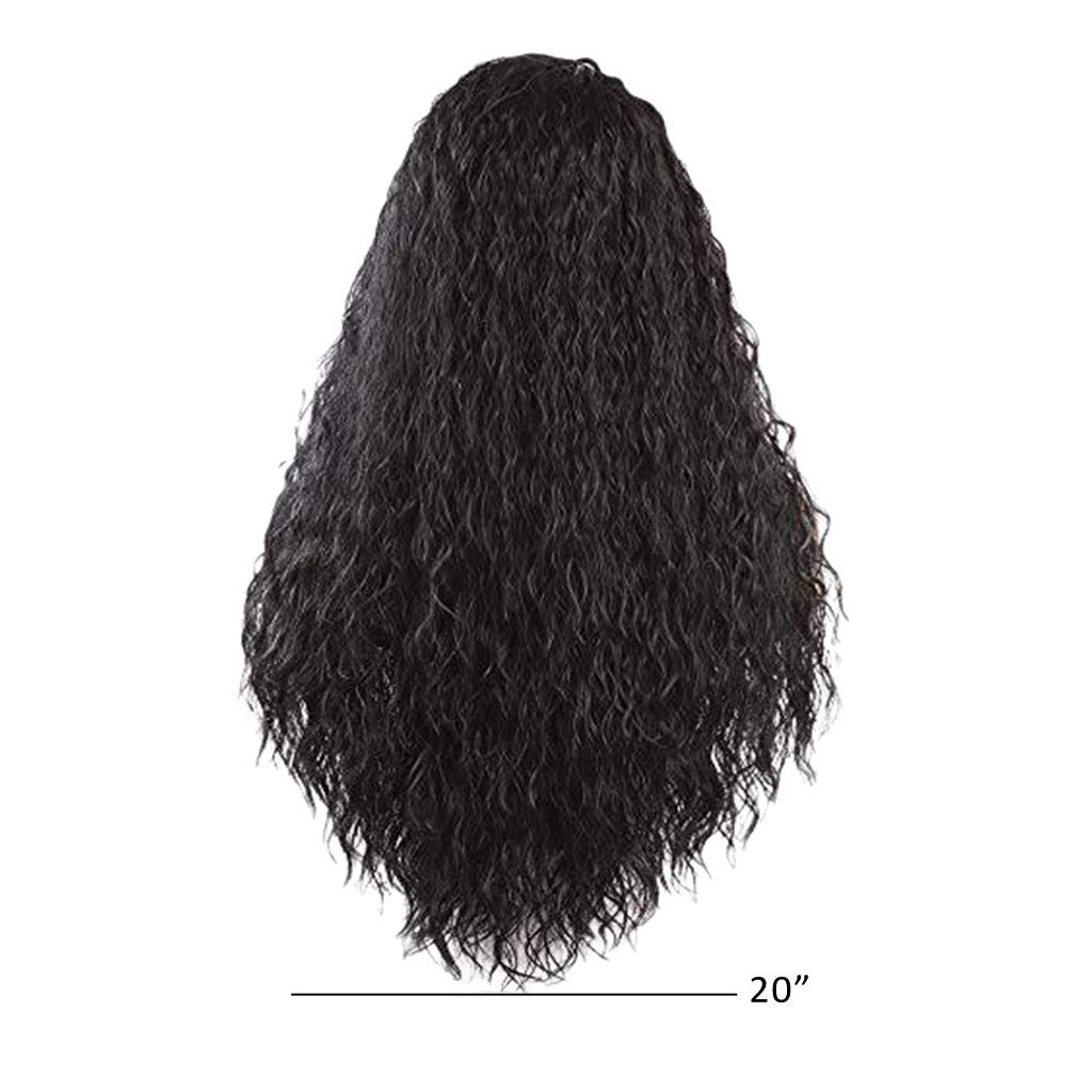 Hair Synthetic Wig Lace Front Wigs Long Loose Curly Heat Resistant Fiber Lace Wigs Natural Black Wig For Black Women (20inch, Black)